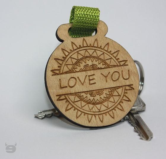 Schlüsselanhänger Holz Rund einzigartig * LOVE YOU *