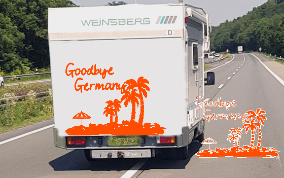 WOHNMOBIL Aufkleber Camper Große Farbauswahl * GOODBYE GERMANY *