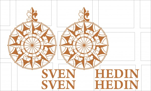 Windrose Raute Sven Hedin 2 Stück mit Schriftzug Lehmbraun *Orinalfarbe*
